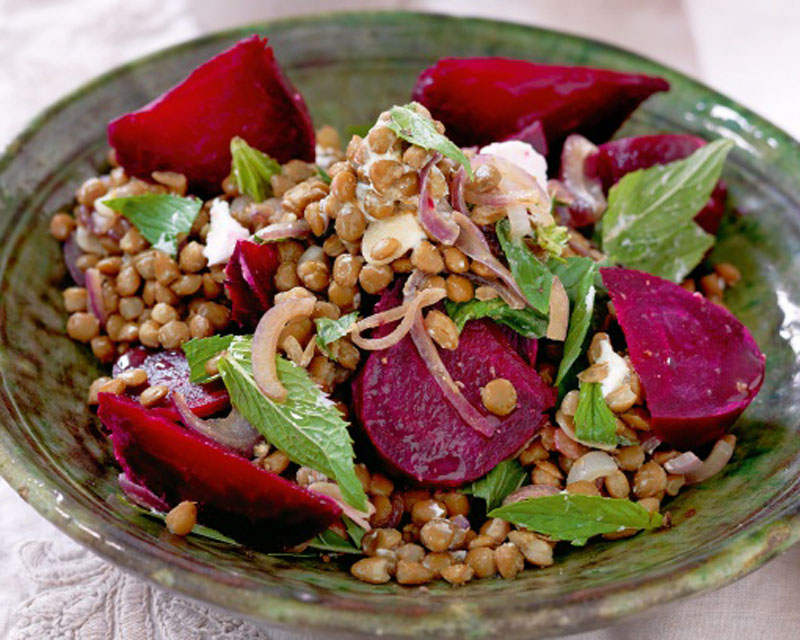 Lentils with Roasted Beetroot and Goat's Cheese - Healthy Lunch Recipes